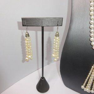 White Fresh Water Pearl Tassel Earrings